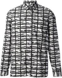 Бело-черная классическая рубашка с принтом