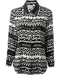 Женская бело-черная классическая рубашка с принтом от Moschino