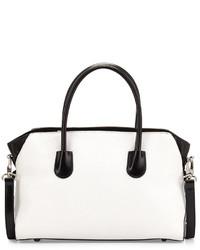 Бело-черная кожаная большая сумка