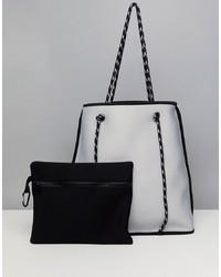 Бело-черная кожаная большая сумка от ASOS DESIGN