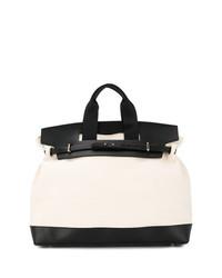 Бело-черная кожаная большая сумка от Cabas