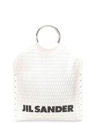 Бело-черная кожаная большая сумка от Jil Sander
