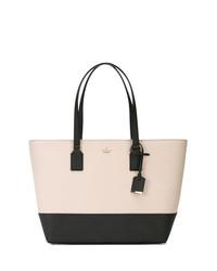 Бело-черная кожаная большая сумка от Kate Spade