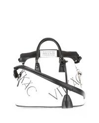 Бело-черная кожаная большая сумка от Maison Margiela