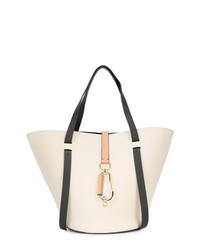 Бело-черная кожаная большая сумка от Zac Zac Posen