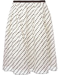 Бело-черная короткая юбка-солнце в горошек