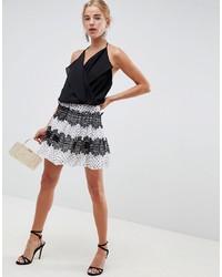 Бело-черная короткая юбка-солнце в горошек от ASOS DESIGN