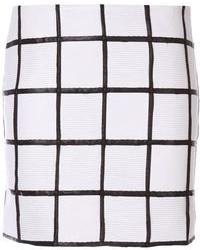 Бело-черная мини-юбка в клетку