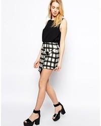 Бело-черная мини-юбка в клетку от Fashion Union