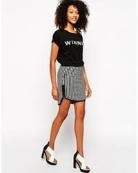 Бело-черная мини-юбка в клетку от Vero Moda