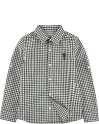 Бело-черная рубашка с длинным рукавом в мелкую клетку
