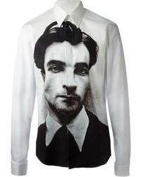 Бело-черная рубашка с длинным рукавом с принтом