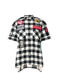 Бело-черная рубашка с коротким рукавом в шотландскую клетку