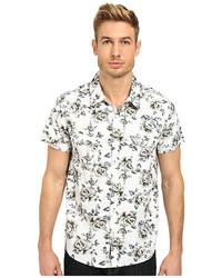 Бело-черная рубашка с коротким рукавом с цветочным принтом