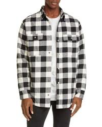 Бело-черная фланелевая куртка-рубашка в шотландскую клетку