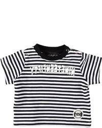 Детская бело-черная футболка в горизонтальную полоску для мальчиков