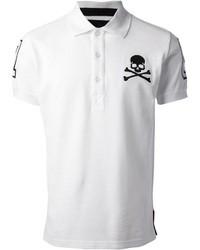 Бело-черная футболка-поло с принтом