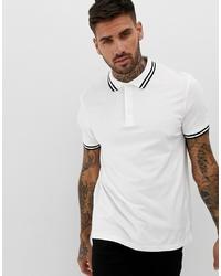 Мужская бело-черная футболка-поло с принтом от ASOS DESIGN
