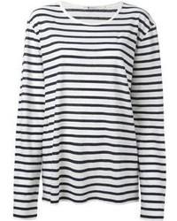 Бело-черная футболка с длинным рукавом в горизонтальную полоску