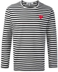 Мужская бело-черная футболка с длинным рукавом в горизонтальную полоску от Comme des Garcons
