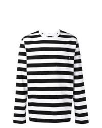Мужская бело-черная футболка с длинным рукавом в горизонтальную полоску от Stussy