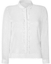 Бело-черная футболка с длинным рукавом в горошек
