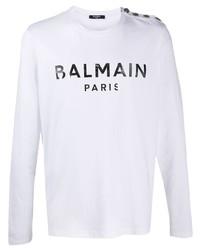 Мужская бело-черная футболка с длинным рукавом с принтом от Balmain