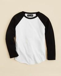 Бело-черная футболка с длинным рукавом