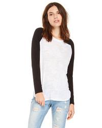 бело черная футболка с длинным рукавом original 3140115