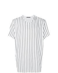 Мужская бело-черная футболка с круглым вырезом в вертикальную полоску от Haider Ackermann