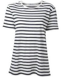 Бело-черная футболка с круглым вырезом в горизонтальную полоску