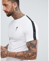 Мужская бело-черная футболка с круглым вырезом в горизонтальную полоску