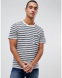 Мужская бело-черная футболка с круглым вырезом в горизонтальную полоску от Abercrombie & Fitch