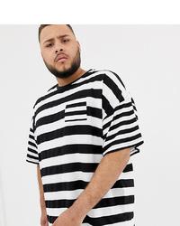 Мужская бело-черная футболка с круглым вырезом в горизонтальную полоску от ASOS DESIGN