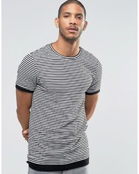 Мужская бело-черная футболка с круглым вырезом в горизонтальную полоску от Asos