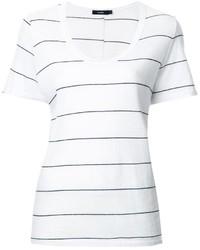 Женская бело-черная футболка с круглым вырезом в горизонтальную полоску от Bassike