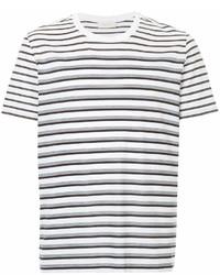 Мужская бело-черная футболка с круглым вырезом в горизонтальную полоску от Cerruti