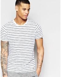Мужская бело-черная футболка с круглым вырезом в горизонтальную полоску от Franklin & Marshall
