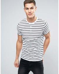 Мужская бело-черная футболка с круглым вырезом в горизонтальную полоску от French Connection