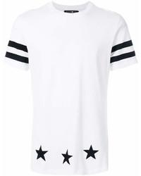 Мужская бело-черная футболка с круглым вырезом в горизонтальную полоску от Hydrogen