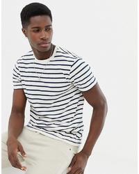 Мужская бело-черная футболка с круглым вырезом в горизонтальную полоску от J.Crew Mercantile