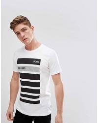 Мужская бело-черная футболка с круглым вырезом в горизонтальную полоску от Jack and Jones