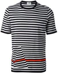 Мужская бело-черная футболка с круглым вырезом в горизонтальную полоску от Jil Sander