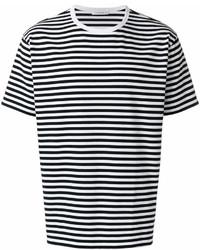 Мужская бело-черная футболка с круглым вырезом в горизонтальную полоску от Nanamica