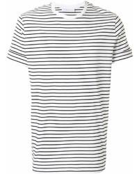 Мужская бело-черная футболка с круглым вырезом в горизонтальную полоску от Neil Barrett
