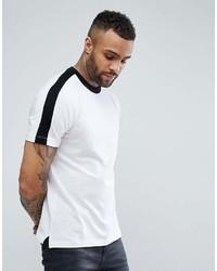 Мужская бело-черная футболка с круглым вырезом в горизонтальную полоску от New Look
