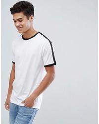 Мужская бело-черная футболка с круглым вырезом в горизонтальную полоску от ONLY & SONS