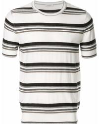 Мужская бело-черная футболка с круглым вырезом в горизонтальную полоску от Paolo Pecora
