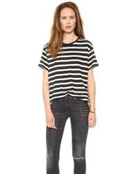 Женская бело-черная футболка с круглым вырезом в горизонтальную полоску от R 13