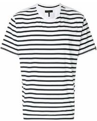 Мужская бело-черная футболка с круглым вырезом в горизонтальную полоску от rag & bone